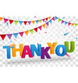 thank you design letters with colorful confetti vector image vector image