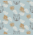 tiger head seamless pattern silhouette vector image vector image
