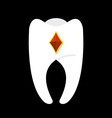 Tooth with diamonds White clean tooth with gem vector image vector image