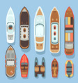 top aerial view boat and ocean ships set vector image vector image