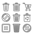 trash bin icons set delete symbol line style vector image vector image