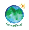 green planet watercolor style vector image