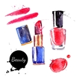 Watercolor cosmetics set Hand painted make up vector image