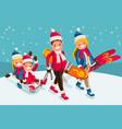 family snow skiing people isometric cartoon vector image