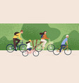 active family riding on bike at forest park vector image vector image