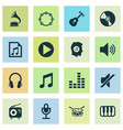 audio icons set collection of tuner phonograph vector image vector image