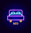 bed neon label vector image