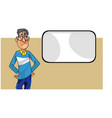 cartoon disgruntled man with glasses looking at an vector image