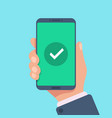 checkmark on smartphone screen green confirmation vector image vector image
