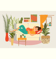 composition relax woman room concept young girl vector image vector image