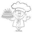 Cook with holiday cake contour vector image vector image