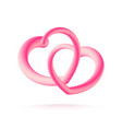 couple of 3d pink hearts isolated on white vector image vector image