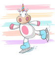 cute unicorn ice skate vector image