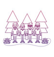 degraded outline happy men friends with pine trees vector image