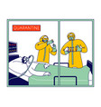 doctor characters wear protective costumes taking vector image
