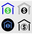 dollar garage bank eps icon with contour vector image