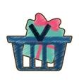 drawing basket shop with green gift box ribbon vector image