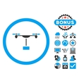 Drone Shipment Flat Icon with Bonus vector image vector image