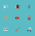 flat icons tape acoustic tone symbol and other