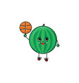 flat sketch watermelon playing basketball vector image