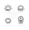 four emblems art and sun combination vector image