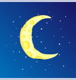 fun cartoon yellow crescent moon among the stars vector image vector image