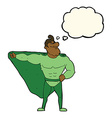 funny cartoon superhero with thought bubble vector image