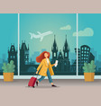 girl with a suitcase at airport in prague vector image