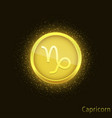 golden capricorn sign vector image vector image