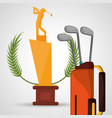 golf trophy bag clubs sport vector image vector image