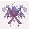 grunge of native American indian tomahawks w vector image vector image