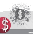 Hand drawn dollar icons with icons background vector image
