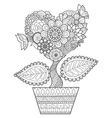heart tree in the pot vector image vector image