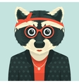 Hipster raccoon vector image vector image