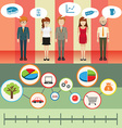 Infographic with people and graph vector image