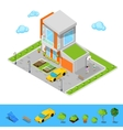 Isometric House with Garage Basketball Playground vector image