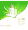 jar of cream on green background shining bio vector image vector image