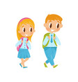 little boy and girl walking on study first school vector image vector image