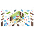 living room interior and isometric apartment items vector image