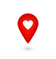 location icon with heart red pointer with like vector image vector image