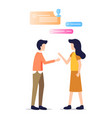man and woman talk chat friend work conversation vector image