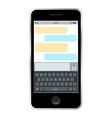 Mobile messenger chat hands with smartphone vector image