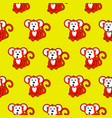 monkey red and yellow seamless pattern vector image vector image