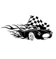 muscle car with flames crazy race vector image vector image