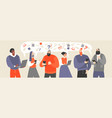 people communicate and exchange documents and idea vector image