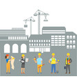 people working on construction engineers set vector image