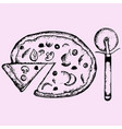 pizza and dough cutter vector image