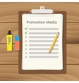promotional media checklist on the clipboard with vector image vector image