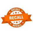 recall ribbon recall round orange sign recall vector image vector image