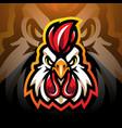 rooster head esport mascot logo design vector image vector image